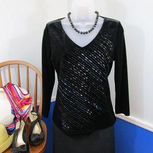 Black Velvet Rainbow Sequin Long Sleeve Top Sz SM